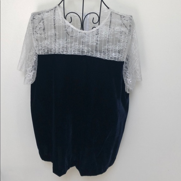 Sandro Velvet And Lace Top